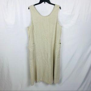 Vintage lands end linen blend midi shift dress